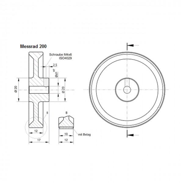 Messrad 200mm mit Polyurethan-geriffelt - Bohrung 6mm H7