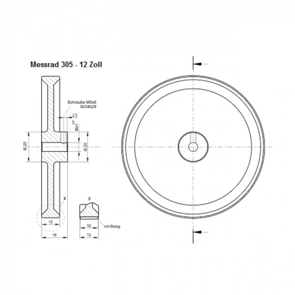 Messrad 12 Zoll mit Polyurethan-genoppt - Bohrung 10mm H7