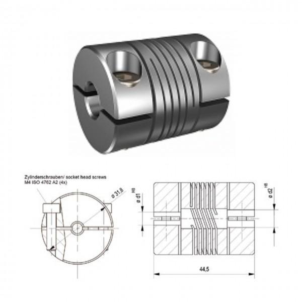 Schwerlast Wendelkupplung 3-gaengig WK3245-3AK - 12mm/14mm