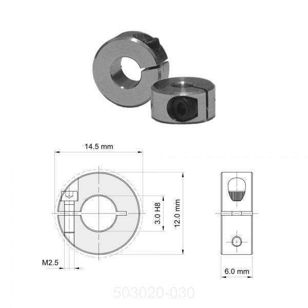 Klemmring 3,0 x 12 x 6 mm, Aluminium mit Innensechskantschraube M2.5