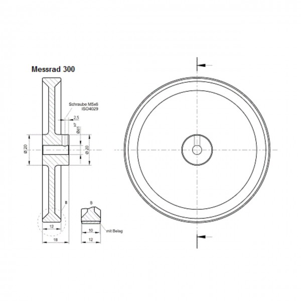 Messrad 300mm mit Polyurethan-geriffelt - Bohrung 7mm H7