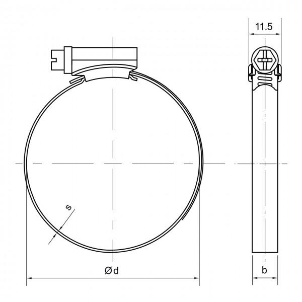Schlauchschelle mit 310 - 330 mm Spannbereich, 9 mm Bandbreite, W2, DIN 3017-1