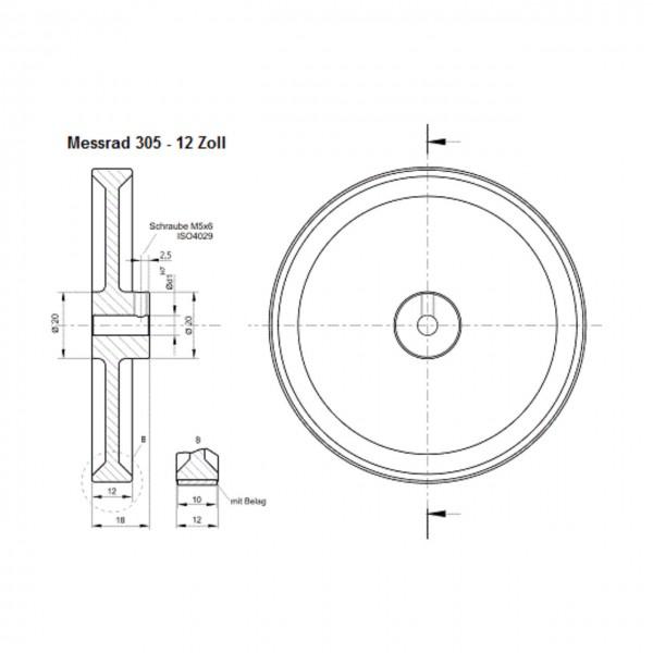 Messrad 12 Zoll mit Polyurethan-geriffelt - Bohrung 5mm H7