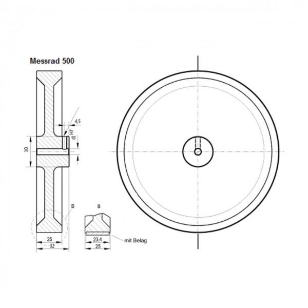 Messrad 500mm mit Polyurethan-geriffelt - Bohrung 10mm H7
